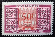 Monaco neuf, taxe n°38A, 50F lilas et rouge, 1946, N**