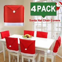 4 PACK Christmas Chair Cover Santa Claus Red Hat Table Ornaments Dinner Chair US