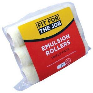 "FFJ Triple Pack 9""x1.5"" Inch Polyester Paint Roller Refills Emulsion (FFJ159TP)"