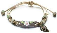Ladies Bracelet Ceramic Glass Beads Leaf Charm Adjustable Festival Gift Flower