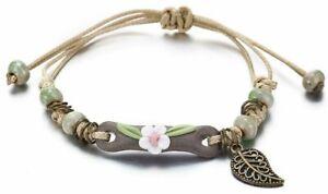 Bracelet Daisy Flower Boho Beads Ceramic Leaf Charm Festival Gift Ladies Girls