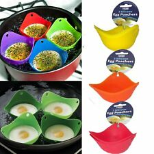 4 x Silicone Egg Poachers Cups Breakfast Mould Poach Pod Cookware Kitchen Boiled
