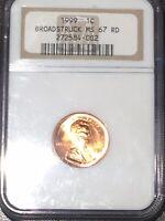 1999-P 1C NGC MS67RD Broadstruck Mint Error - RicksCafeAmerican.com