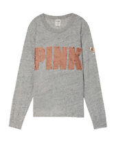 Victoria Secret PINK Heather Stone Grey Rose Gold Bling Ringer Long Sleeve Tee L