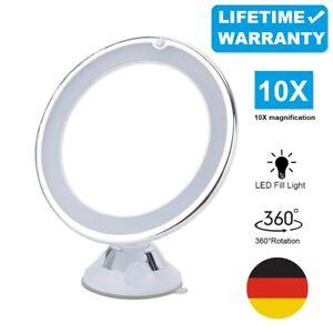 Kosmetikspiegel Rasier LED Schminkspiegel 10-fach Vergrößerung Beleuchtung