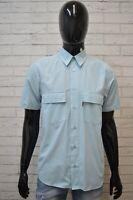 Camicia Uomo LEVIS Size M/S Manica Corta Cotone Hemb Chemise Camisa Azzurra Slim