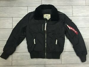 MENS BLACK ALPHA INDUSTRIES PILOT BOMBER JACKET, SIZE SMALL