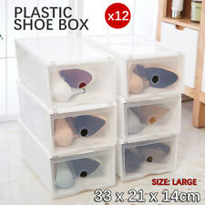 12x Hard Plastic Clear Shoe Box Toy Storage Container heavy duty Organizer Stack