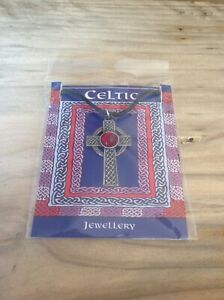 Celtic Interlaced Cross Red Gem Silver Pewter Pendant On A Waxed Cord