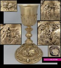 ANTIQUE 1850s FRENCH ALL STERLING SILVER GOLD VERMEIL EMBOSSED CATHOLIC CHALICE