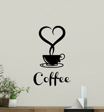 Coffee Poster Wall Decal Cup Heart Food Kitchen Vinyl Sticker Home Decor 134nnn