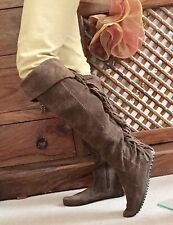 MINNETONKA SUEDE FRINGE MOCCASIN BOOTS Boho BOOTS,FRINGE BOOTS UK 2.5 Eu 35.5