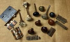 Lot of Vintage Brass & Porcelain & Glass Door Knobs & Misc. Hardware