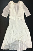 Azai Hi-Lo Hem Sheer Sleeve Drape Back Dress, Ivory, Size Small MSRP $130.00