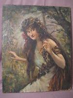 Grande huile sur toile Baccanthe  à la grappe de raisin époque XIX ème siècle
