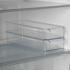 2 Clear Plastic Fridge Organiser Fruit Veg Rack Box Stacking Storage Holder Tray