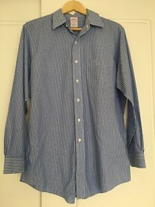 Brooks Brothers Sz 15.5-33 L XL Blue White Pinstripe 100% Cotton Oxford Shirt