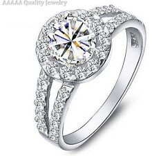 925 Sterling Silver Platinum Plated  Brilliant Cut Simulated Diamond Ring Size Q