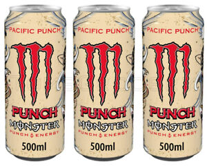 MONSTER Pacific Punch Energy Drink 3 x 500ml 16.9 fl oz