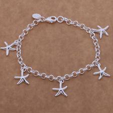 925 Silver Plated Star Fish Bracelet Charms Fashion Bangle Women Jewelry Gift UK