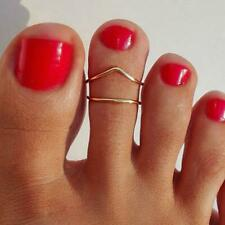 Fashion Women Jewelry Foot Ring 1set Decoration Alloy Double Gold Toe Ring Lo