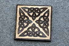 Engraved Jewelry Birch Wood New #121 Celtic 4 Knot Square Brooch Pin Laser