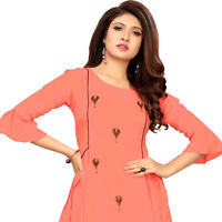 Women Fashion Indian  Embroidery Rayon Kurti Tunic Kurta Top Shirt Dress