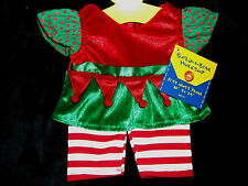 Build A Bear Workshop Christmas Clothing Girl Elf Outfit 1pc Red/White/Green