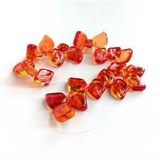 Glass Leaf Beads Czech Rich Fall Autumn Color Fuchsia Pink Yellow 12mm