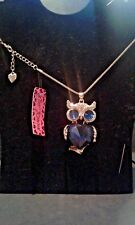 BETSEY JOHNSON BLUE CRYSTAL OWL PENDANT CHARM NECKLACE-