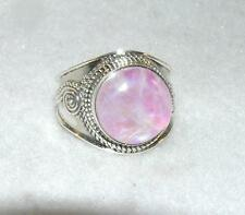 Rainbow Moonstone Balinese Round Pink Ring Sterling Silver Size 8.25