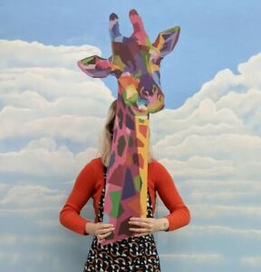 Giant Wooden Giraffe Head Colourful