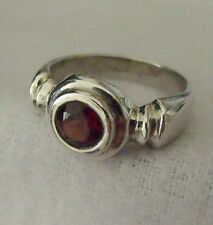 BEAUTIFUL STERLING SILVER 925 RED GARNET RING SIZE 9