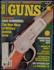 "Magazine *GUNS* April 1985 IVER JOHNSON Trailsman .22 PISTOL, MOSSBERG ""Brownie"""