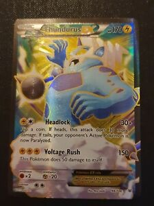 Pokemon card Thundurus EX 98/108 roaring skies excellent rare