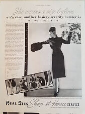 1937 Vintage Womens Real Silk Hosiery Size 6 Glove Clothing Fashion Ad
