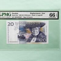 1991-92 Sweden 20 Kronor Pick # 61a*, PMG 66 EPQ Gem Unc, Replacement/Star Note