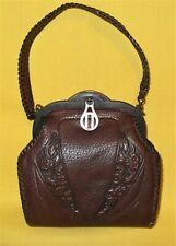 Small Antique Art Nouveau Tooled Leather Purse Turn Lock Clasp