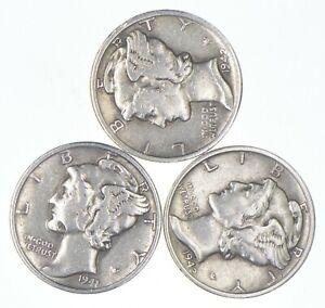 Lot of 3 AU/Unc 1942-D, 1941, 1942 Mercury Dimes 90% Silver Collection *248
