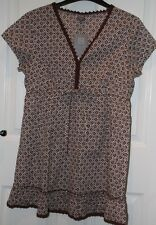 TU Short Sleeve Abstract Print Chocolate Brown Tunic Top - UK 14