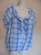 Monsoon UK12 EU40 US8 blue and white check 100% cotton elasticated waist top