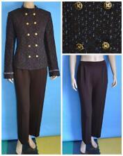 St. John Collection Tweed Brown Blue Jacket Pants L 12 10 2pc Suit Gold Buttons