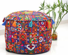 "22"" Indian Vintage Round Ottoman Pouf Cover Blue Patchwork Handmade Footstool"