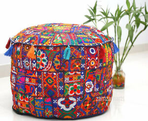 """Handmade Footstool 18x18"""" Round Ottoman Pouf Cover Blue Patchwork Indian Vintage"""