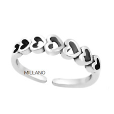 Hearts Band Adjustable Toe Ring Genuine Hallmarked 925 Solid Sterling Silver