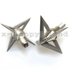 "6x Compound Bow Hunting Broadheads 100 gr 4 Blades Arrow Heads Points 7/8"" Cut"
