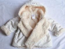BABY ZARA GIRL'S 6-9 Mths BEAUTIFUL SOFT LIGHT WHITE/ CREAM HOODY COAT JACKET