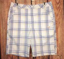 Puma Dry Cell Golf Shorts Plaid Checks White Blue Yellow Flat Front Casual Sz 32