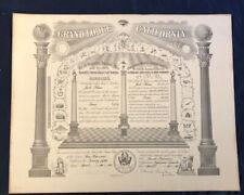 1969 MASTER MASON CERTIFICATE- Grand Lodge, California Ionic No. 520