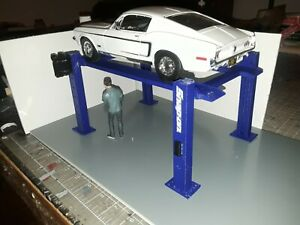 1:18th Scale  BLUE 4 Post Model Car Lift for Garage Diorama 1/18th Scale